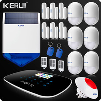 Kerui RFID 3G 4G WIFI Alarm PSTN GSM SMS Home Burglar System LCD GSM SMS Touch Screen Alarm Panel Home Security Solar Siren