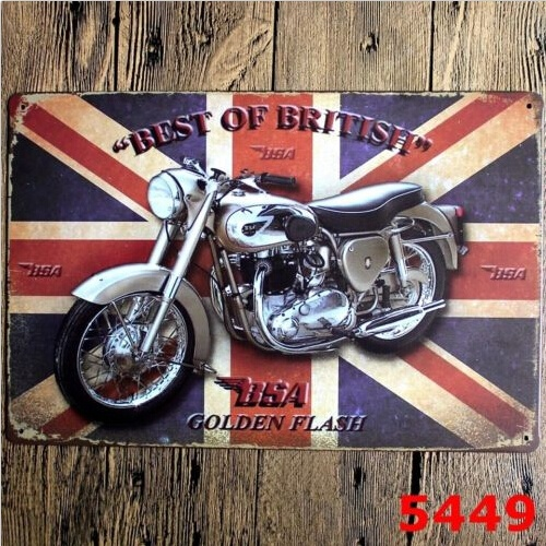 Best of British BSA Golden Flash Motorcycle Tin Sign Metal Wall Decor Display 20x30CM