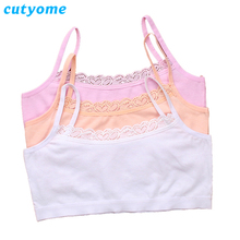 5pcs/lot Cutyome Young Girls Students Bra Solid Cotton Purbery Children Lace Underwear Kids Vest Bras Teenage Underclothes Undie