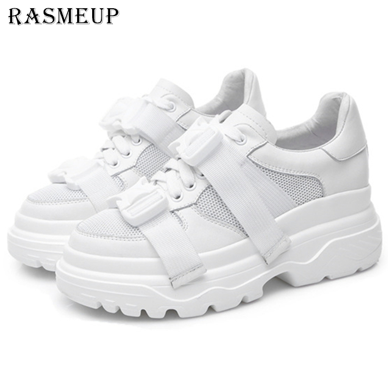 RASMEUP Plus Size Genuine Leather Mesh Women s Platform Dad Sneakers 2019 Fashion Women Flat Walking