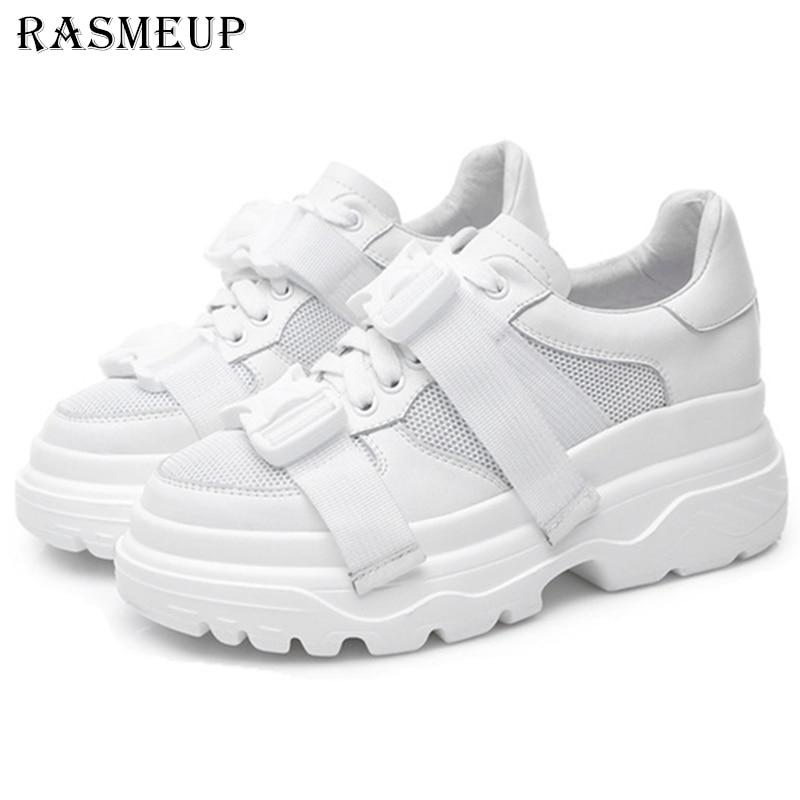RASMEUP/Женская обувь из натуральной кожи и сетчатого материала на платформе, кроссовки для папы, модель 2019 года, модная женская прогулочная об...