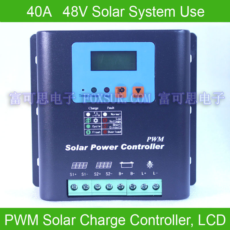 40A 48V PWM Solar Charge Controller, with LCD display battery voltage and capacity, HiQuality Display Charging for Off Grid PV C