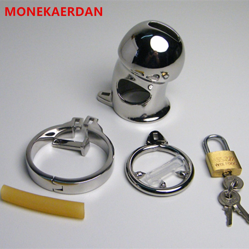 Stainless Steel Cock Rings Penis Cage Metal Chastity Device In Sex Games , Erotic Fetish Adult Products Sex Toys For Men - AJ28 metal cockring penis cage with anti off ring stainless steel male chastity device adult sex toys cock rings for men cb6000s