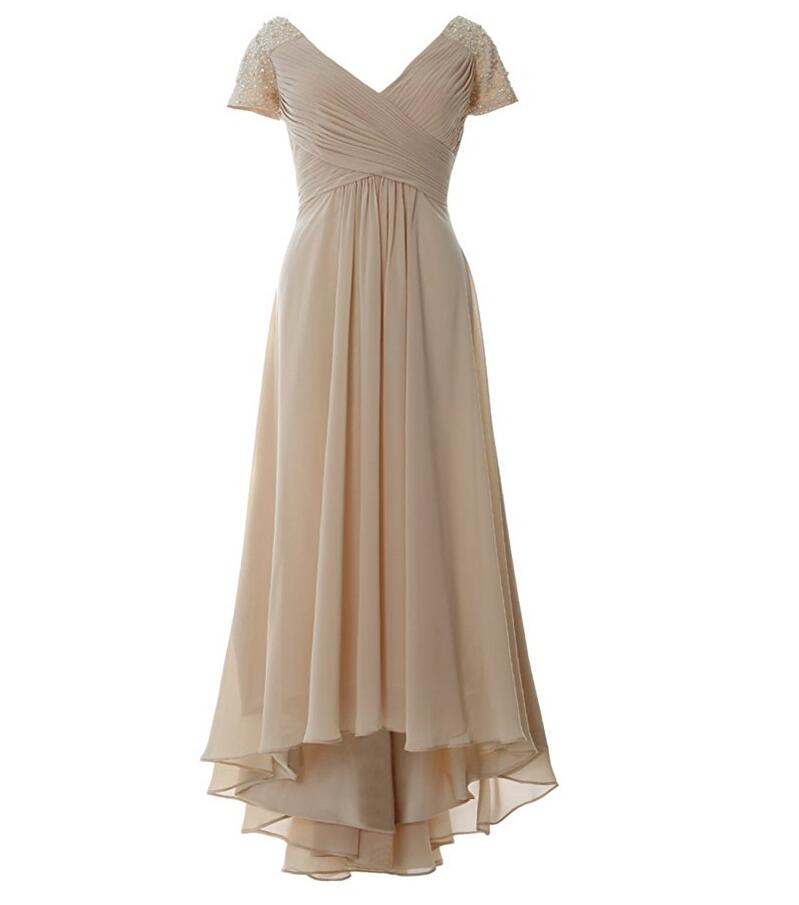 Champagne chiffon dresses for mother of the bride beaded for Wedding dress ideas for short brides
