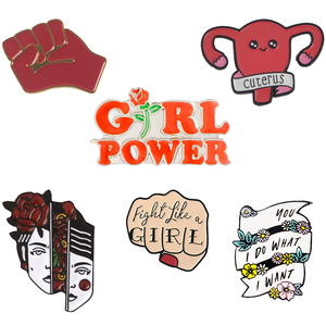 Feminism Collection Enamel Brooch Pin Feminist Motivational Female Uterus Fist Girl Power I Do What I Want Metal Pin Badge Gift(China)