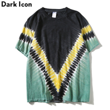 Dark Icon Tie Dye Tshirts Men Women 2019 Summer Crew Neck Geometric Men's T-shirts Street Tee Shirts Male Top Cotton недорого