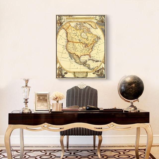 Online shop world map canvas painting vintage oil paint africa south world map canvas painting vintage oil paint africa south america map prints classroom decoration home wall art prints decor gumiabroncs Images