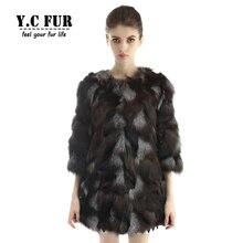 Hot Sales Women Fur Coat Winter Pieces Of Natural Fox Fur Coats Jackets O Neck Long Coat For Ladies YC1106
