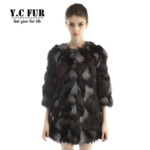 Hot Sales Women Fur Coat Winter Pieces Of Natural Fox Fur Coats Jackets O Neck Long Coat For Ladies YC1106