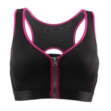 Women Padded Tank Crop Tops Front Zippers Fitness Bras Shockproof Push Up