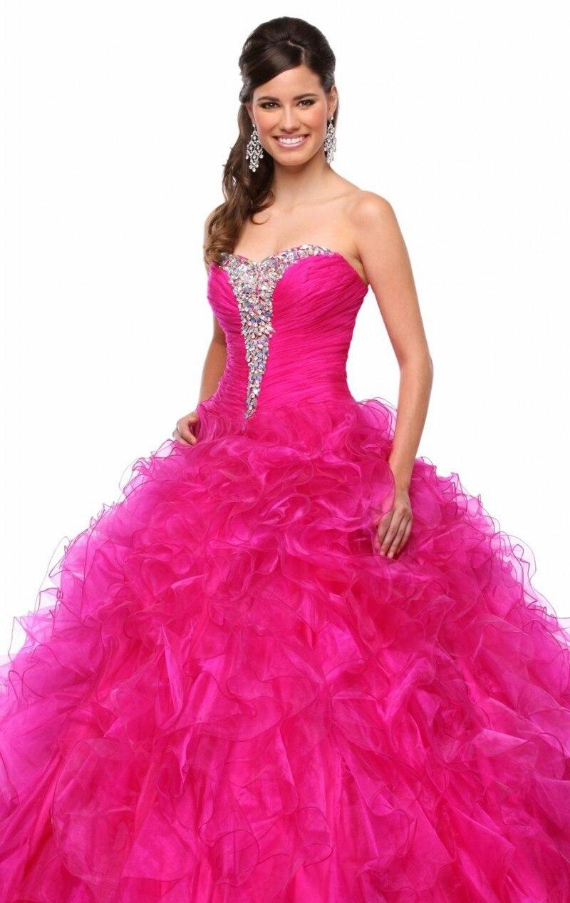 2015 Reci 233 N Llegado Caliente Rosa Fucsia Vestido Para 15