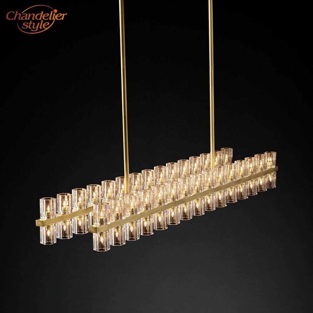 Arcachon lustre linéaire éclairage moderne rétro cristal lustre lampe pendentif suspension lumière Restaurant éclairage