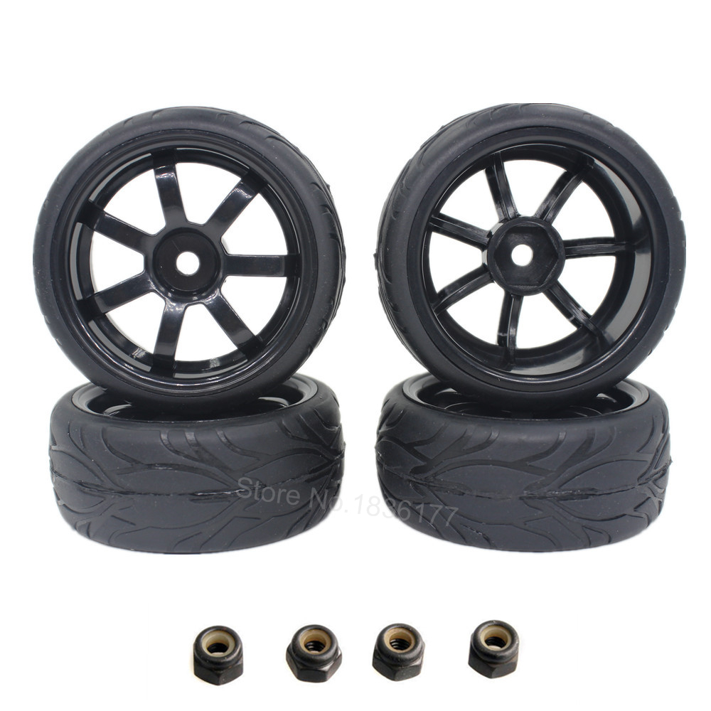 4pcs 12mm RC Car Tires Wheels 1/10 On Road Car 12mm Hex with Sponge For HSP HPI Spare Parts 1 8 buggy on road tires 17mm for kyosho hobao hsp hpi 4pcs tires