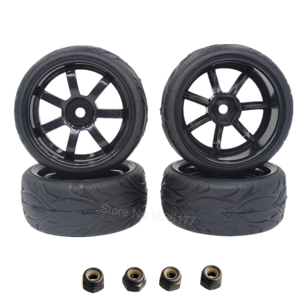 4pcs 12mm rc car tires wheels 110 on road car 12mm hex with sponge