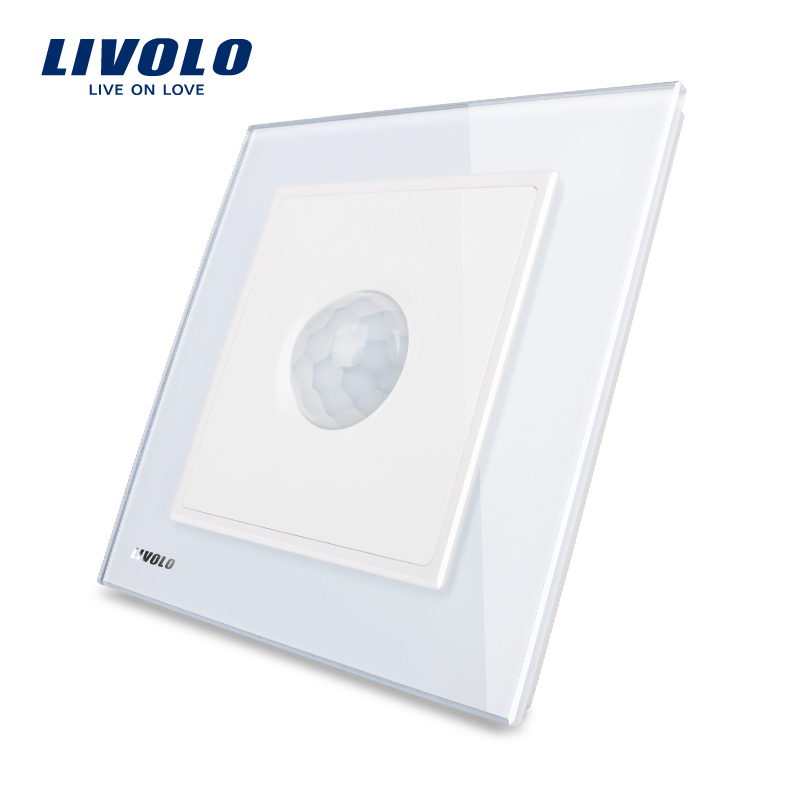 Manufacturer, Livolo New Human Induction Switch, White Crystal Glass Panel, AC 110~250V Home Wall Light Switch VL-W291RG-12 manufacturer white crystal glass panel livolo new wall light sound control switch ac 110 250v 40s vl w291sg 12