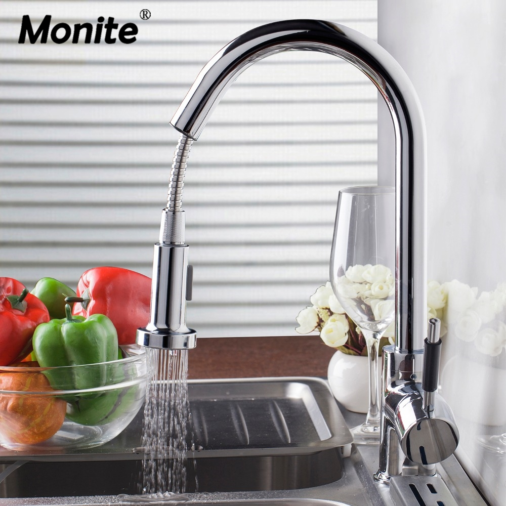 DE Home Luxury New bland Pull Out Kitchen Faucet Deck Mount Kitchen Water Taps with Hot and Cold Water Single Handle Faucet luxury pull out kitchen faucet deck mount kitchen water taps with hot and cold water single handle crane taps