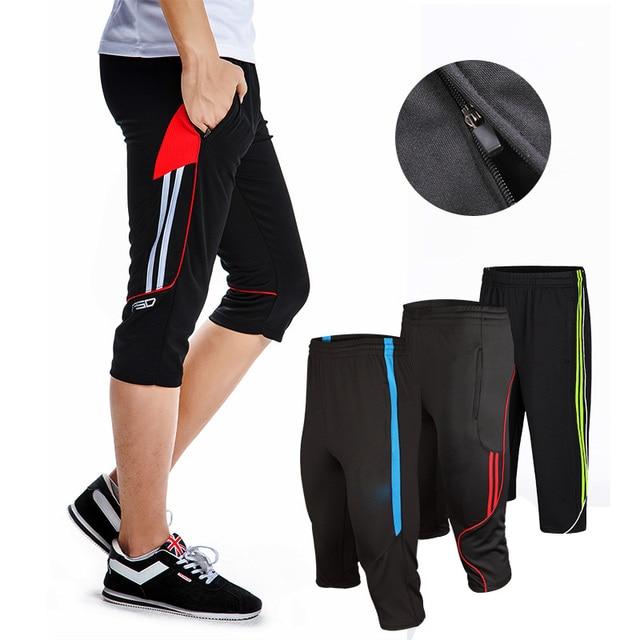 Nuevos diseños tamaño L-4XL pantalones de entrenamiento de fútbol para hombre correr 3/4 pantalones con bolsillo con cremallera