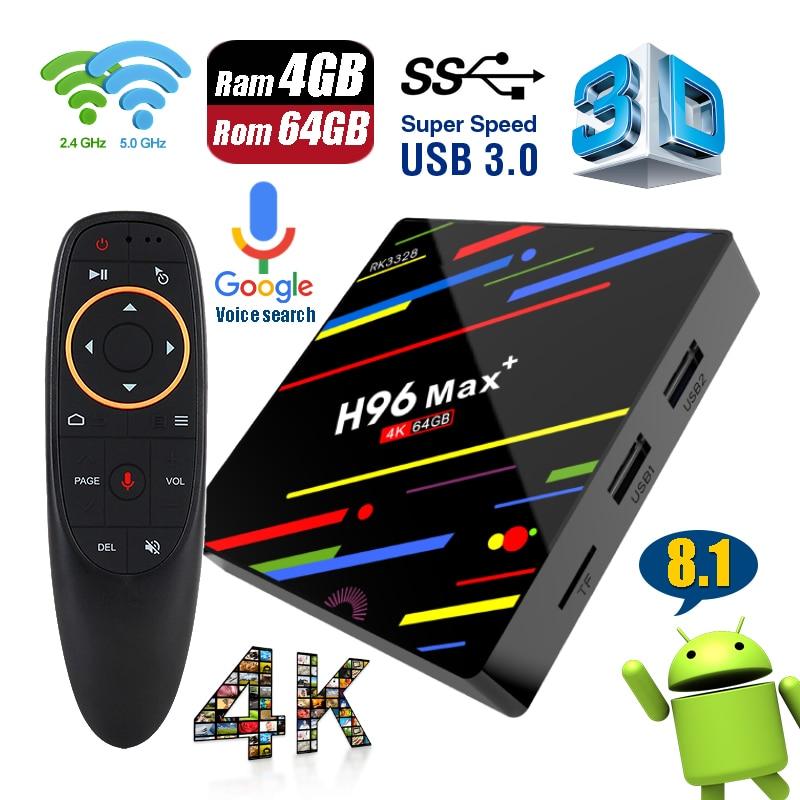 H96 Max + плюс ПЗУ 4 Гб оперативной памяти 6 4G Google голосовой поиск удаленного Управление Smart ТВ Box Android 8,1 USB 3,0 Двойной Wi-Fi 4 К UHD Декодер каналов кабе...