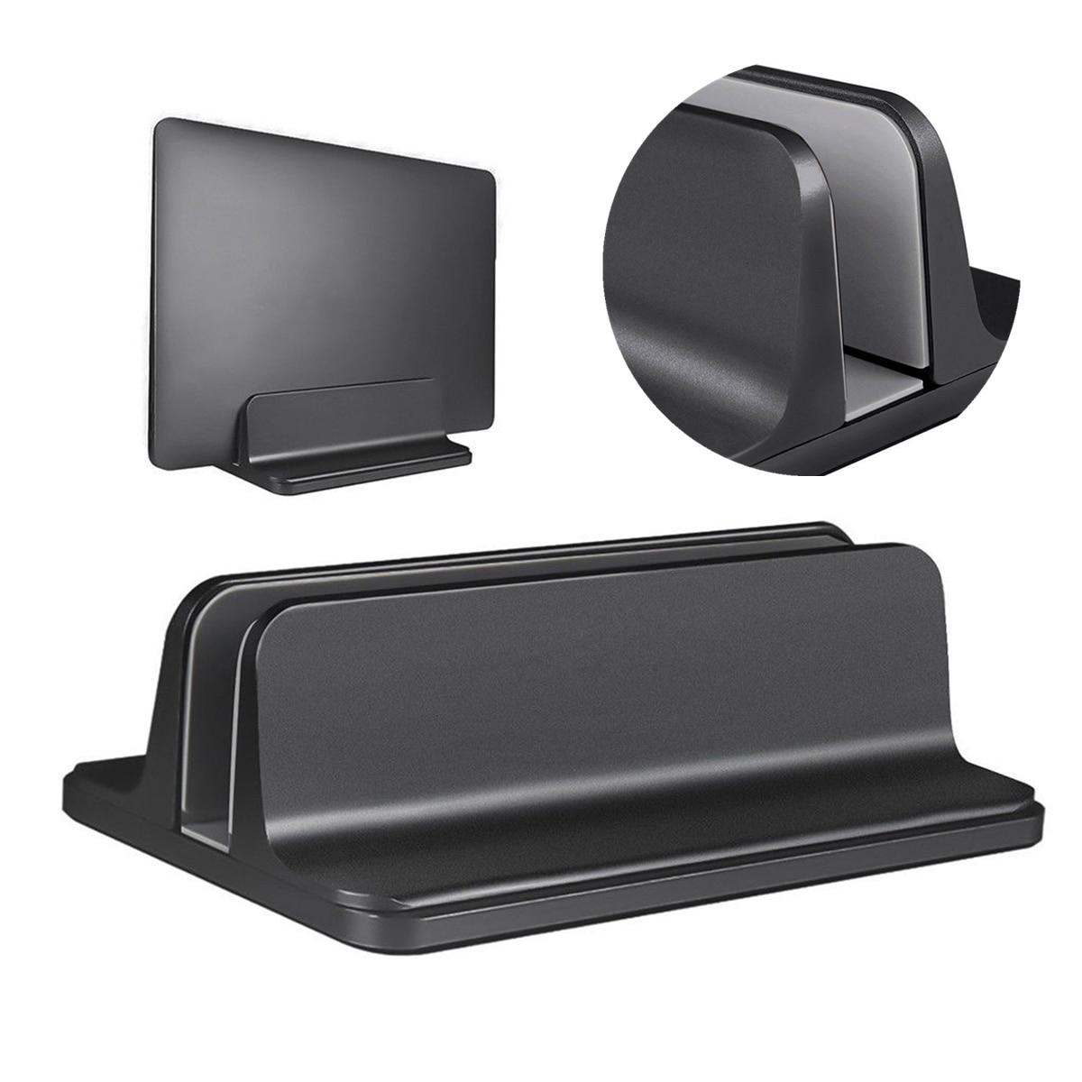 Aluminum Alloy Vertical Laptop Stand Adjustable Desktop Notebook Computer Holder Tablet Rack Organizer Accessories Black
