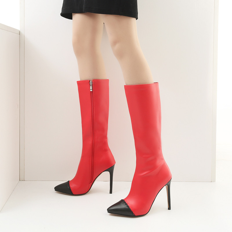 Stiefel 45 weiß Schuhe 2018 Party rot Mode Dünne Plus High Kaqi Größe Stiletto Sexy Heels Mitte Weiß Ritter Spitz Ymechic Wade Rot Winter BqHIWwHFa