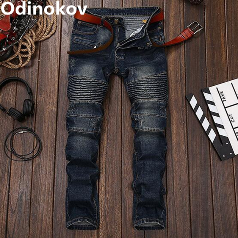 ФОТО Odinokov Brand 2017  Ripped Jeans  Men Biker Jeans Pants Mens Skinny Jeans Slim Fit Fashion Jeans For Men Pantalon Slim Homme