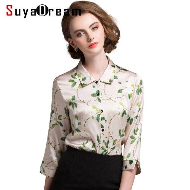 8b3c4a9ab7c Señora de la Oficina Blusa de Seda Satén de seda Media manga larga Estampado  floral Mujer