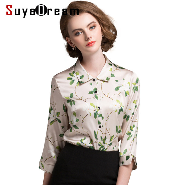 df15d3a93abcaa Silk Blouse Office lady Silk Satin Half sleeved Woman Floral Print Blouses  PLUS SIZE buttons shirt