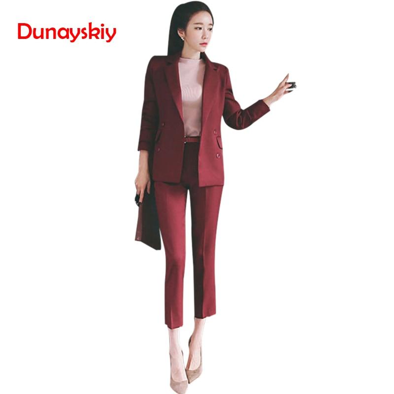 Printemps automne épais tissu dames Slim pantalon costumes femmes solide décontracté OL vêtements de travail bureau élégant Double boutonnage pantalon costumes 2019