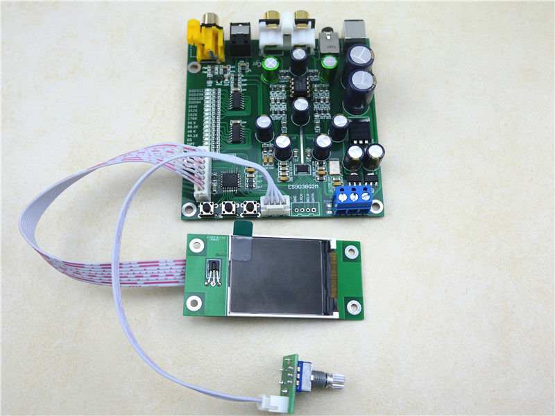 ES9038 Q2M DAC decoder board Kits IIS dsd fiber coaxial input 384k dop128 with TFT screen