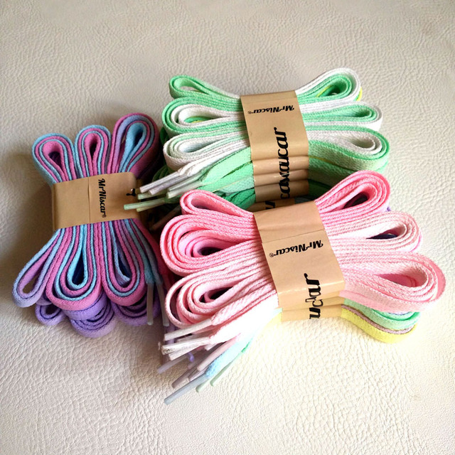 Mr.Niscar 2 Pair Fashion Women Gradient Casual Shoe String Laces Painted Multicolor Flat Shoelaces Rope Laces 120cm/140cm