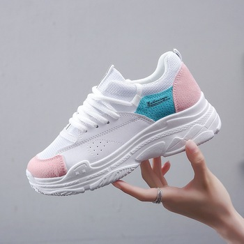2018 Thick Soled Casual Shoes Autumn Platform Sneakers Pink Ladies Shoes Korean Mesh Lace Up Chunky Sneakers Women Basket Femme Сникеры