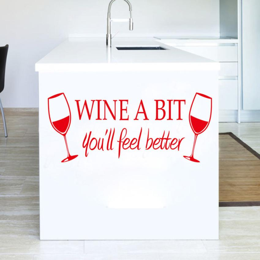 Home Decor Red Wine A Bit Cup Removable Room Vinyl Decal Art DIY Wall Sticker Home Decor wall sticker Home Deco mirror AU6