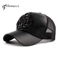 Fibonacci 2017 New Summer High Quality Baseball Cap Black Faux Leather Floral Mesh Hats For Women