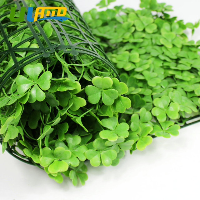 Uland Plastic Clover Plants Panels Artificial Boxwood Hedge Indoor Wall Cover Diy Garden Decoration Greenery Fence