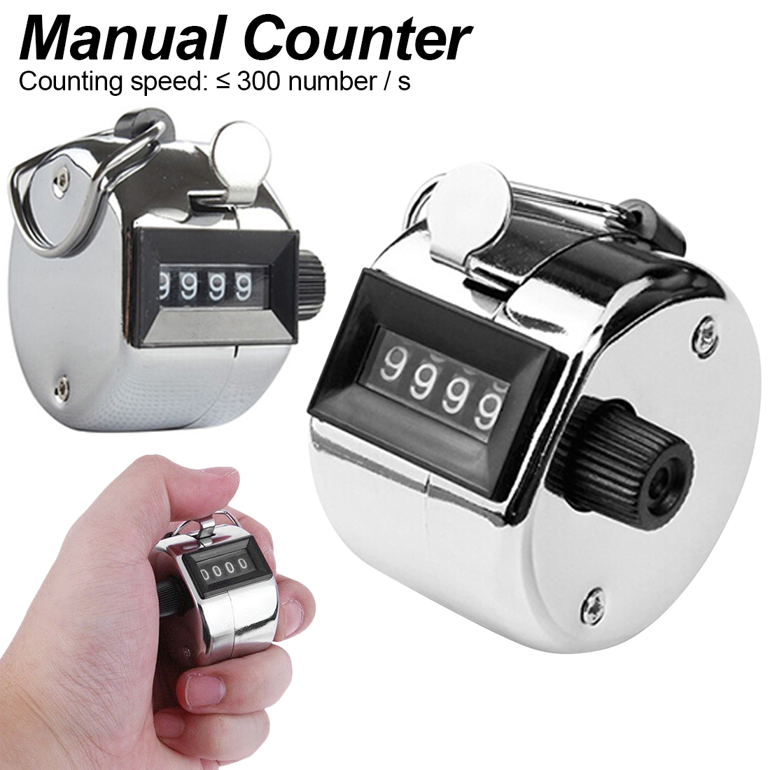 Mechanical Manual Finger 4 Digit Finger Hand Clicker Click Tally Counter Number