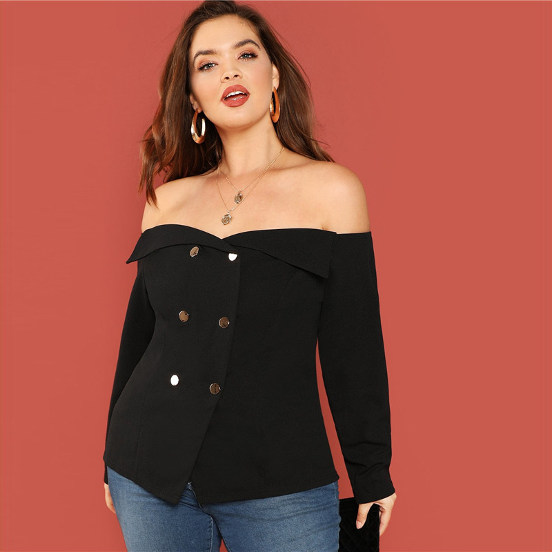 Black Sexy Off The Shoulder Long Sleeve Button Detail Plus Size Women Blouse
