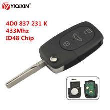 YIQIXIN 3 Button Remote Key 433Mhz Keyless Entry Fob ID48 Transponder Chip for Audi A2 A3 A4 A6 A8 TT Old Models 4D0 837 231 K