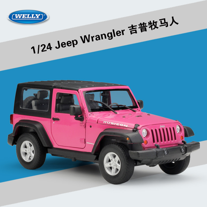WELLY 1:24 Scale Diecast Car 2007 Jeep Wrangler Metal Toy Car Alloy Classic Jeep Model Car Kid Toy Vehicle Gift Cars Collection