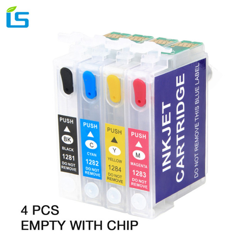4pcs/set T1281 T1282 T1283 T1284 Empty Compatible Ink cartridge for EPSON stylus S22 SX130 SX125 SX235W SX435W SX425W Printers 4pcs set compatible ink cartridge epson t0321 t0322 t0323 t0324 for epson stylus c70 c70 c80 c80n c80wn