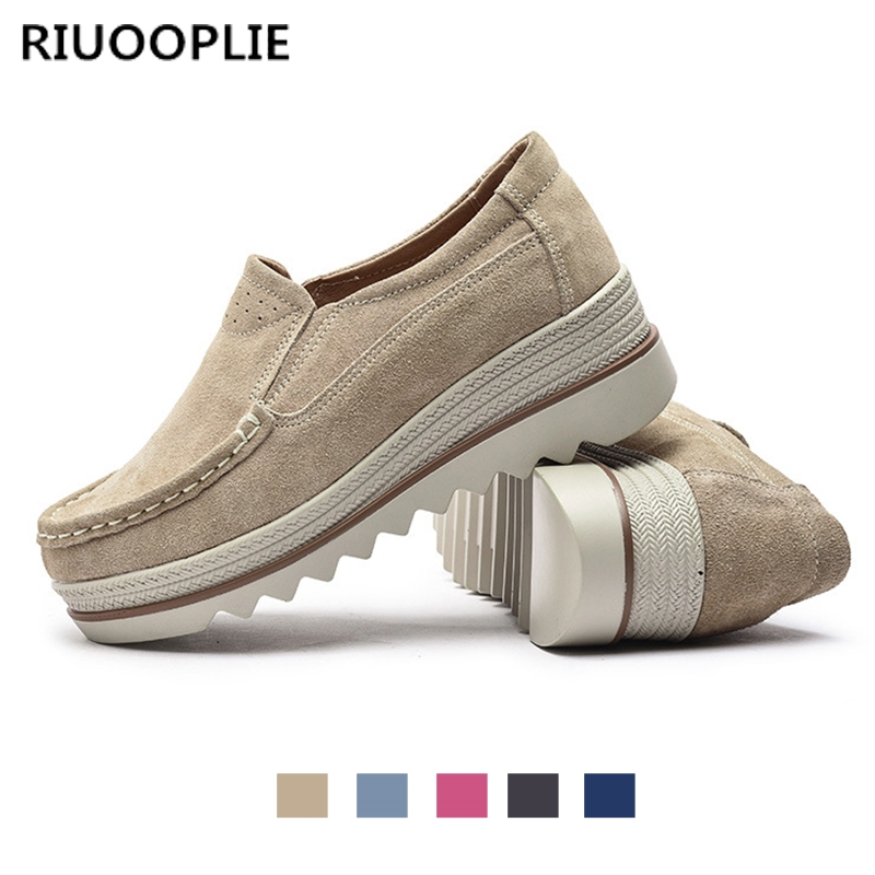 RIUOOPLIE women ladies flats shoes platform sneakers shoes   leather     suede   casual shoes slip on flats heels creepers moccasins
