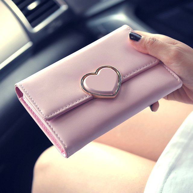 New Sweet Women Peach Heart-Shapped Wallet Case Lady PU Leather Money Clips Female Short Wallet and Purse