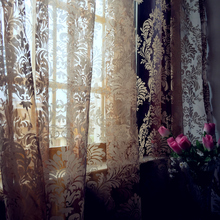 Free shipping Europe Type brown flower  voile sheer curtain tulle panel for living room kitchen shade window treatment curtain