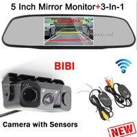 3 In 1 Wireless Car Parking Sensors Rearview Camera Reverse 5 Inch Mirror Monitor Digital LCD