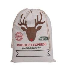 Рождественский подарок сумки завод прямых продаж олень типа естественный цвет холст большой размер сумки шнурок для подарка с бесплатной доставкой
