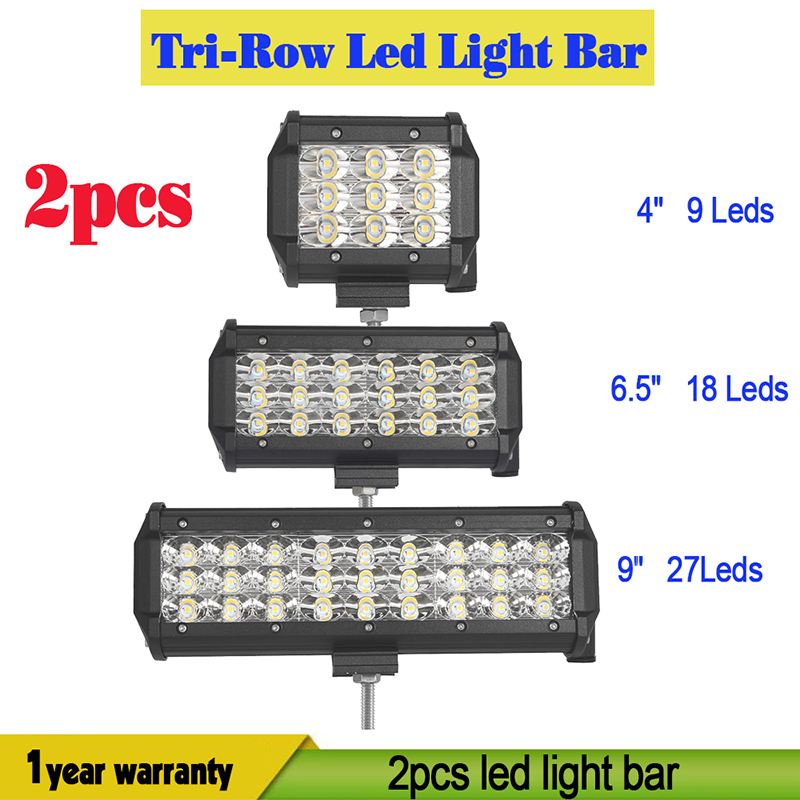 2ps 4 6.5 9 Tri Row Led Light Bar Spot Flood Offroad Led Work Driving Lihgt 12v 24v Fog Lamp Reversing Headlight Truck Pickup