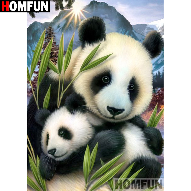 HOMFUN Full Square Round Drill 5D DIY Diamond Painting quot Animal panda quot Embroidery Cross Stitch 3D Home Decor Gift A13283 in Diamond Painting Cross Stitch from Home amp Garden