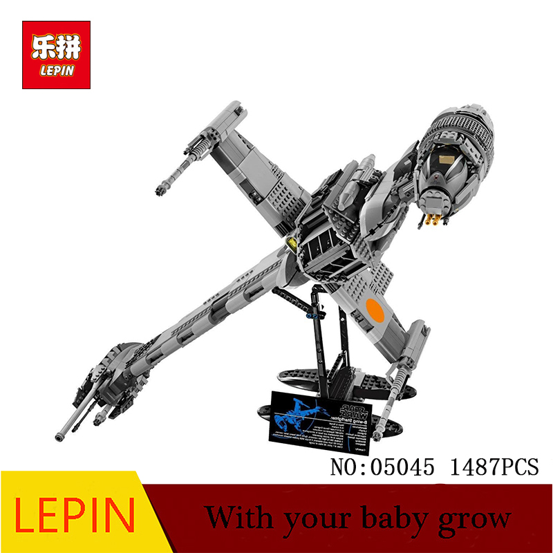 new Lepin 05045 Star 1487pcs Genuine War Series The B Starfighter wing Educational Building Blocks Bricks Toys 10227 Gifts model mini qute kawaii wise hawk star war darth vader x wing starfighter r2d2 yoda building blocks brick model figures educational toy