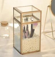 Retro glass flip brush tube Beauty brush tube dust Bronze edging makeup brush barrel Brush storage box.