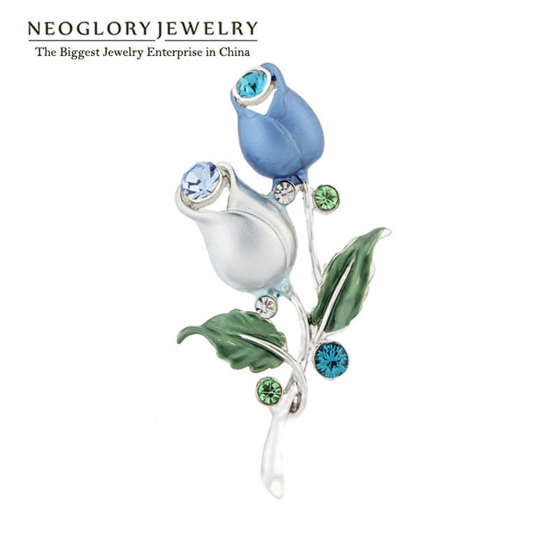 Neoglory Biru Bunga Enamel Antik Berlian Imitasi Pins dan Bros untuk Wanita Pernikahan Gaun Fashion Merek Perhiasan Ibu Hadiah 2018