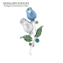 Neoglory Blue Flower Enamel Vintage Rhinestone Pins and Brooches for Women Wedding Dress Fashion Brand Jewelry Mother Gift 2017